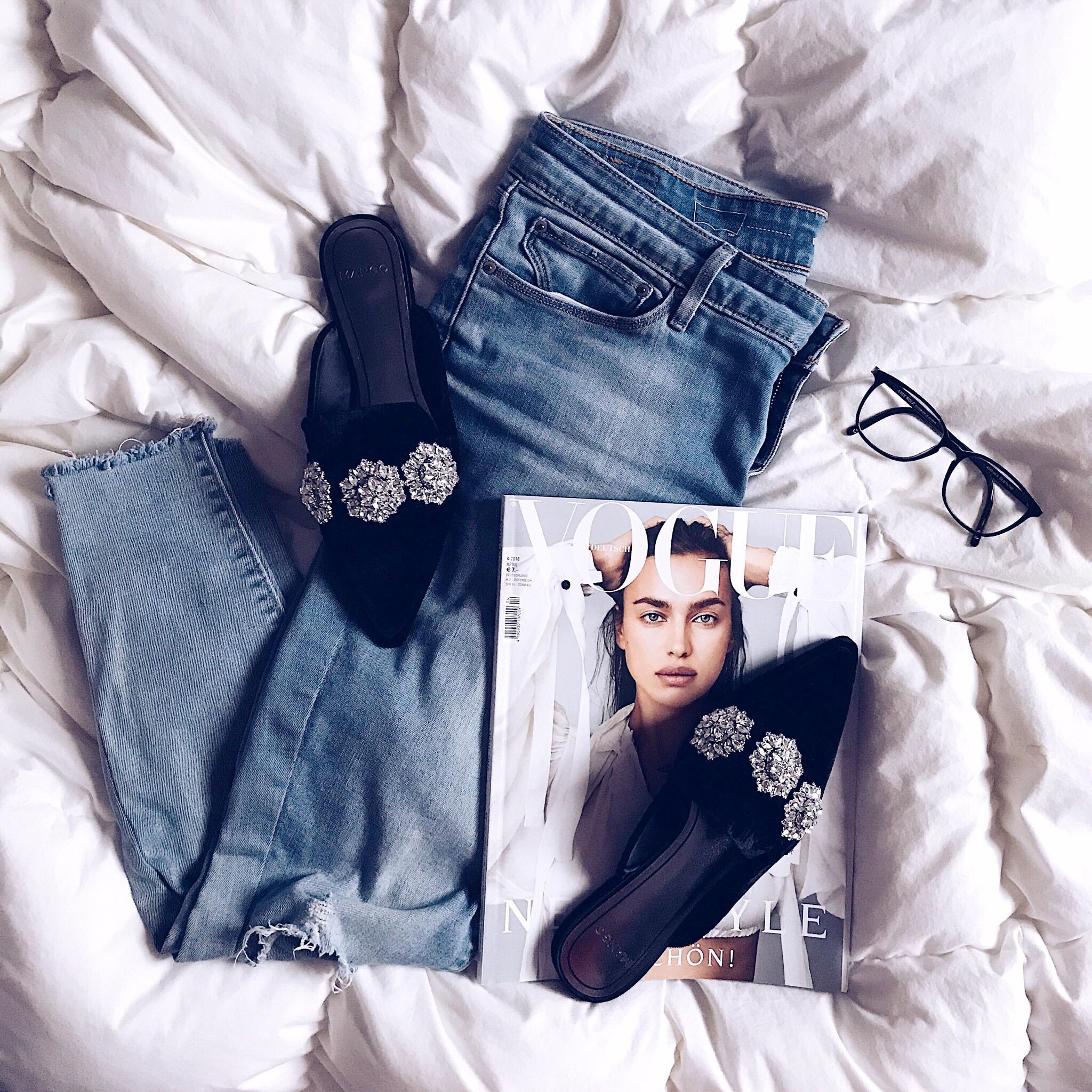 Mango Pantolette, Levis Jeans,