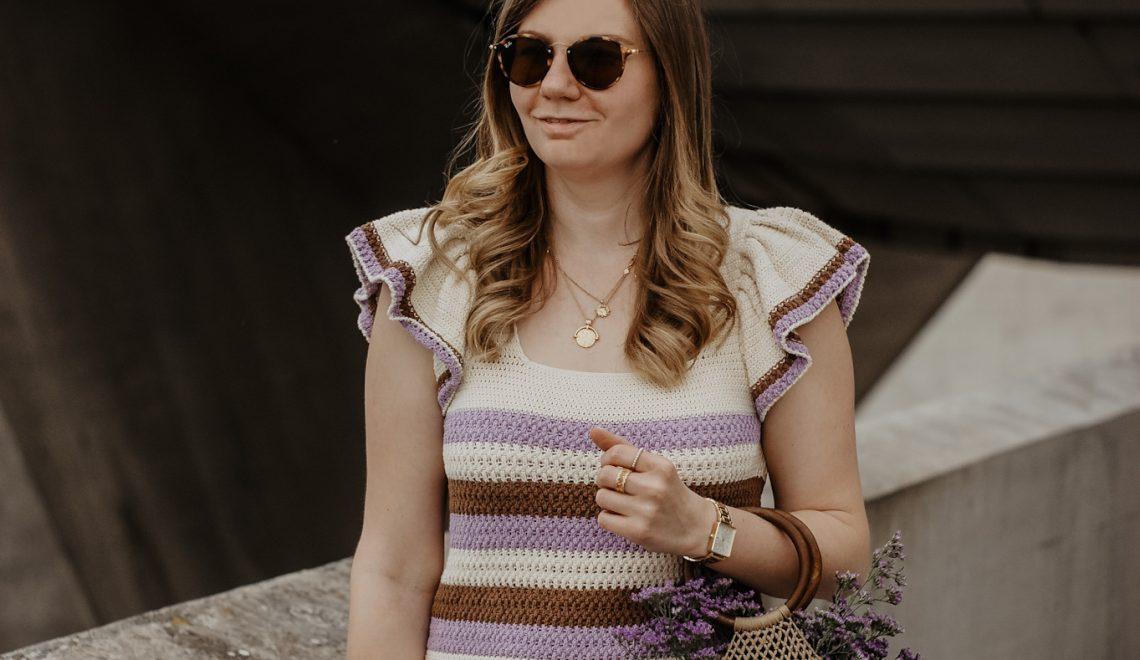 Lila Häkeltop Outfit
