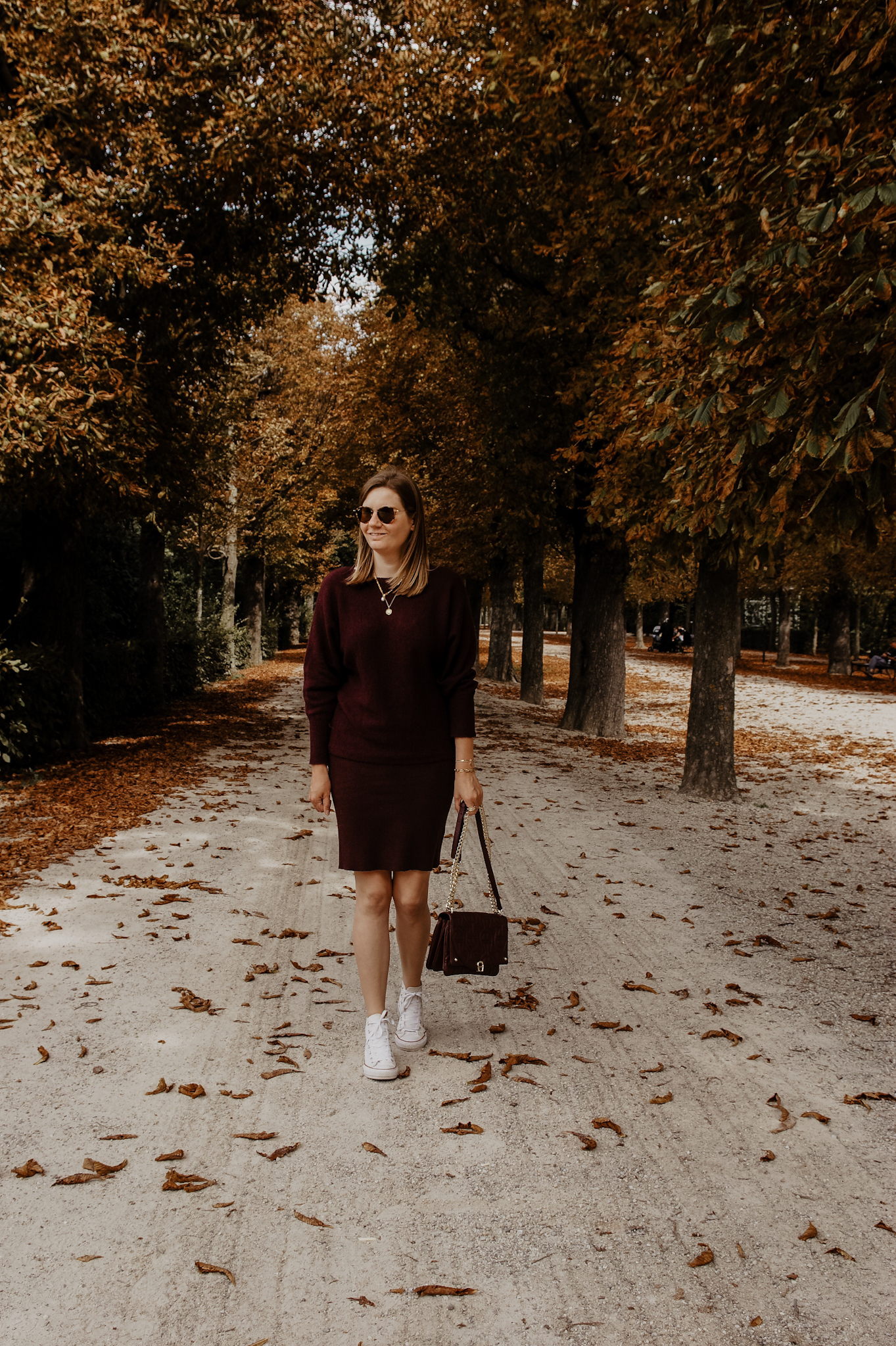 b.young Herbst Outfit Strickrock, Sweater, Bordeauy