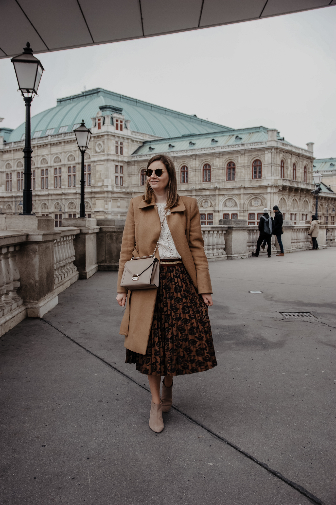 Winter Outfit Camel Coat midi skirt
