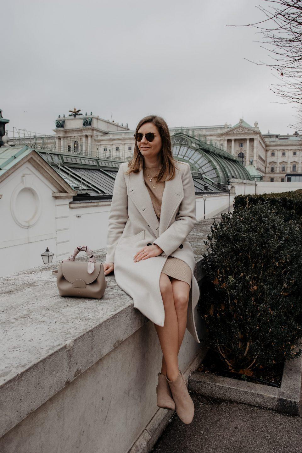 Winter Outfit beige Strickrock, Strickpullover, Wien, Fashionblog
