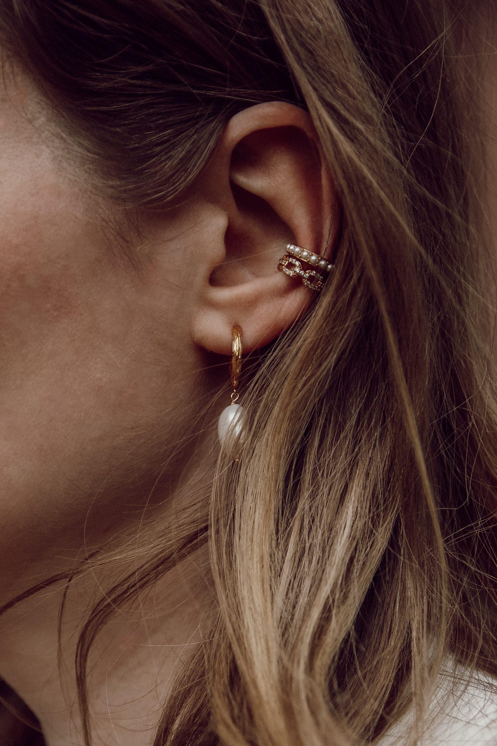 Safira, Hoops, Creolen, Pearl Earrings