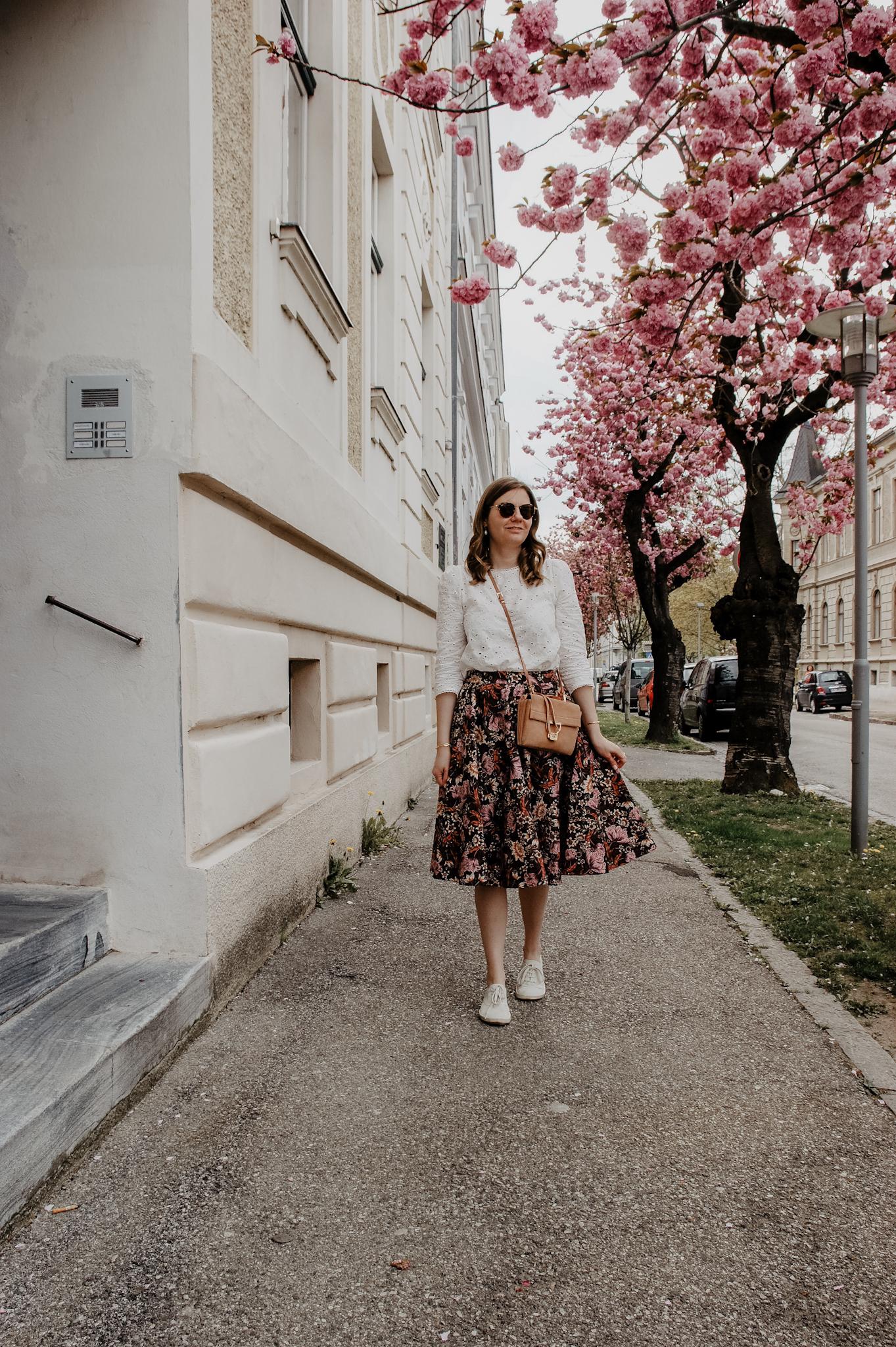 flower midi skirt, blouse, Marie Zelie, Coccinelle Arlettis bag, cherry blossom
