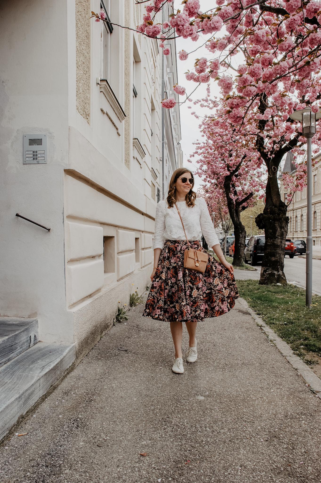 flower midi skirt, blouse, Marie Zelie, Coccinelle Arlettis , spring outfit, cherry blossom