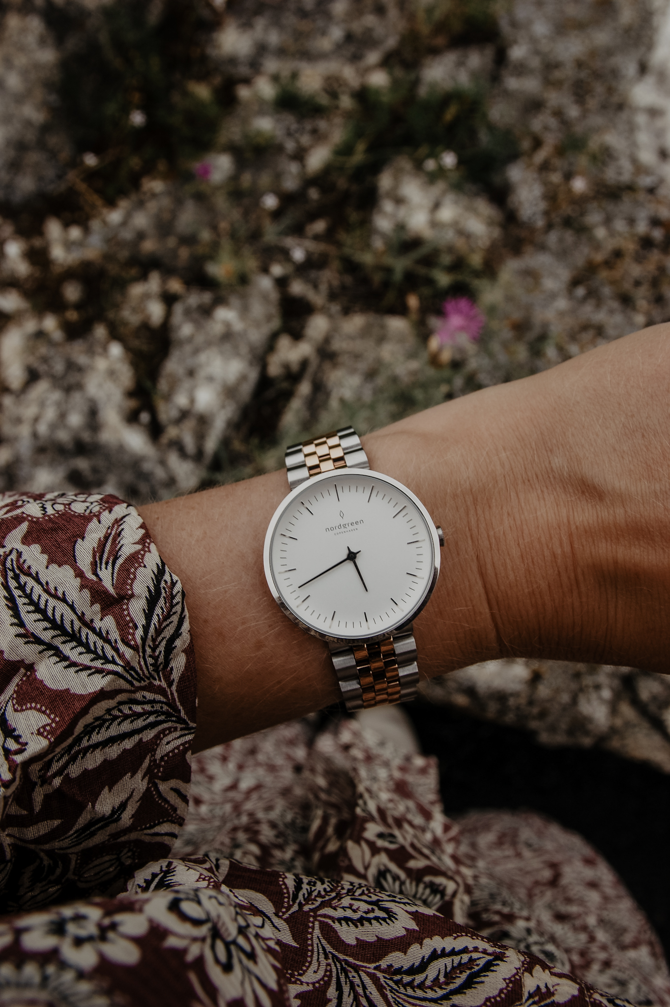 Nordgreen Native White Dial Silver-Gold 5-Link Watch